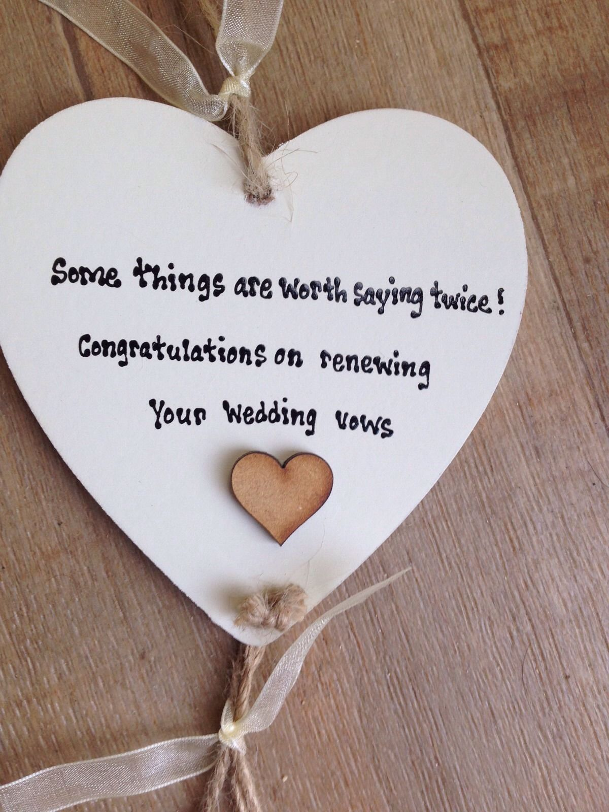Shabby Personalised Gift Chic Heart Plaque Renewing Renewel Wedding